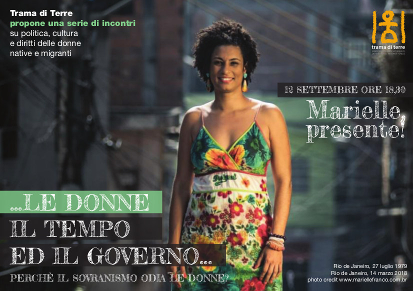 """Giovedì 12 Settembre: presentazione di """"Marielle, presente!"""", con l'autrice Agnese Gazzera"""