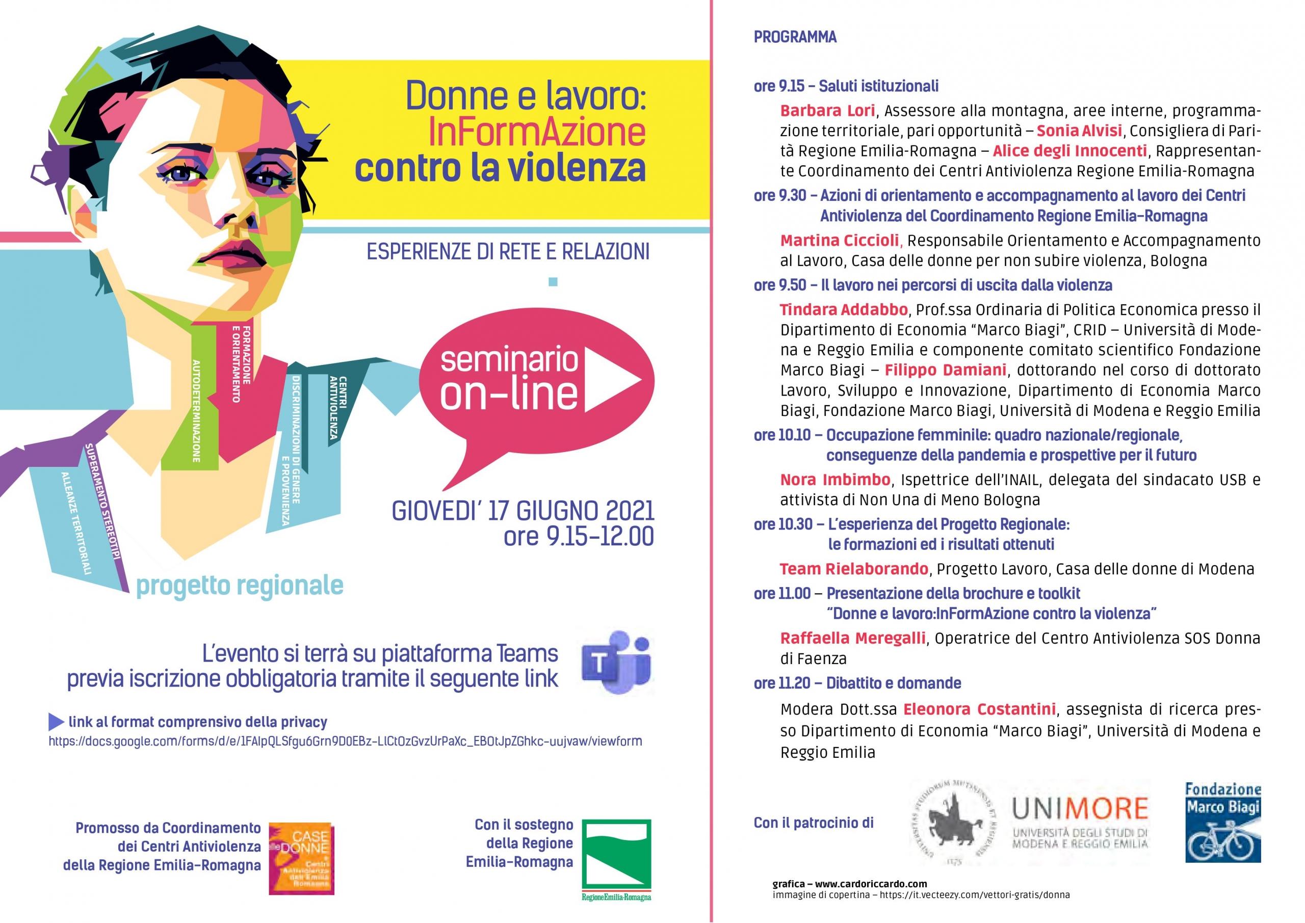 """Giovedì 17 Giugno: seminario on-line """"Donne e lavoro: InFormAzione contro la violenza. Esperienze di rete e relazioni"""""""